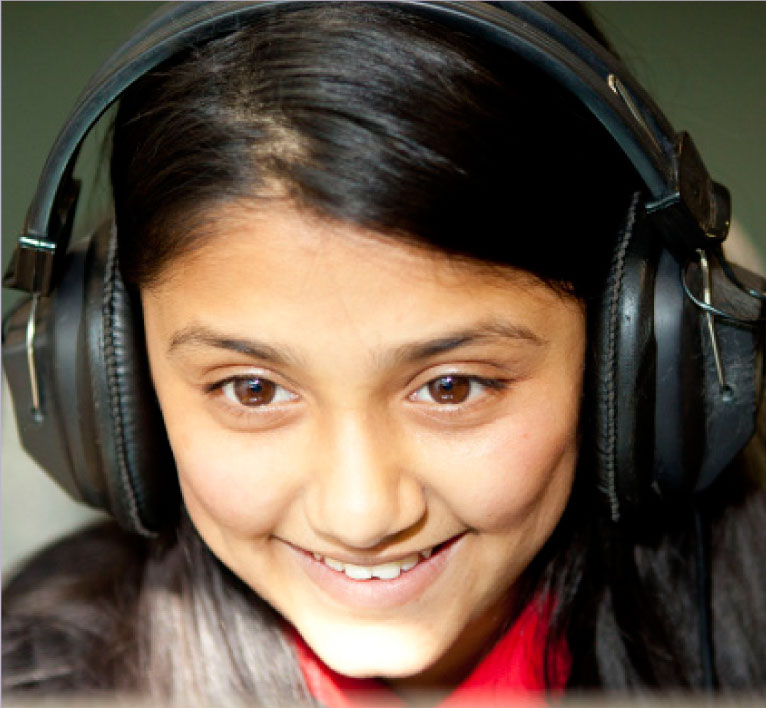 School photography girl listening to music